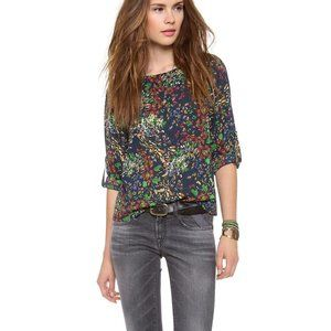 alice + olivia S Sid Rolled Sleeve Top Silk Floral